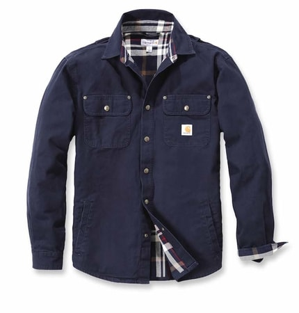 Košile carhartt - 100590 Weathered Canvas Shirt Jac NVY