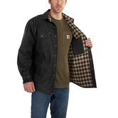 Košile carhartt - 100590 Weathered Canvas Shirt Jac BLK