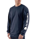 Carhartt triko - EK231NVY Long-Sleeve Graphic Logo T-Shirt