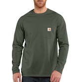 Carhartt triko - 100393 FORCE™ Cotton  L-Sleeve T-shirt Moss