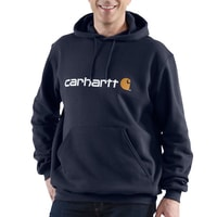 Mikina Carhartt - 100074 NVY SIgnature Logo Midweight Hooded  Swearshirt