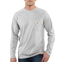 Carhartt triko - 100393 FORCE™ Cotton  L-Sleeve T-shirt Heather Grey